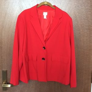 Chico's red blazer with pockets